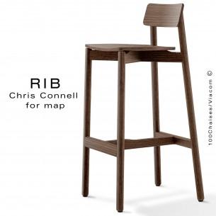 Tabouret de bar RIB, piétement et assise en bois de frêne, teinté wengé