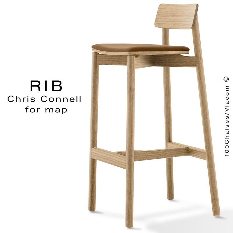 Tabouret de bar RIB, piétement en bois de frêne teinté naturel, assise garnie, habillage tissu crème
