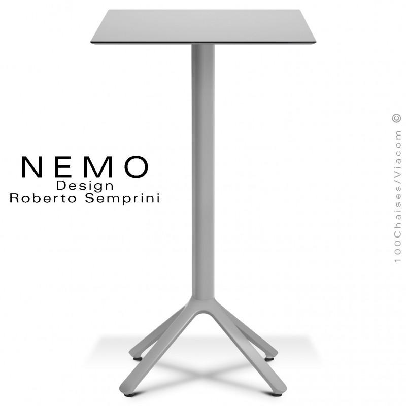 Table mange-debout NEMO, pour CHR., piétement aluminium argent, plateau fixe 60x60 cm., compact finition gris clair.