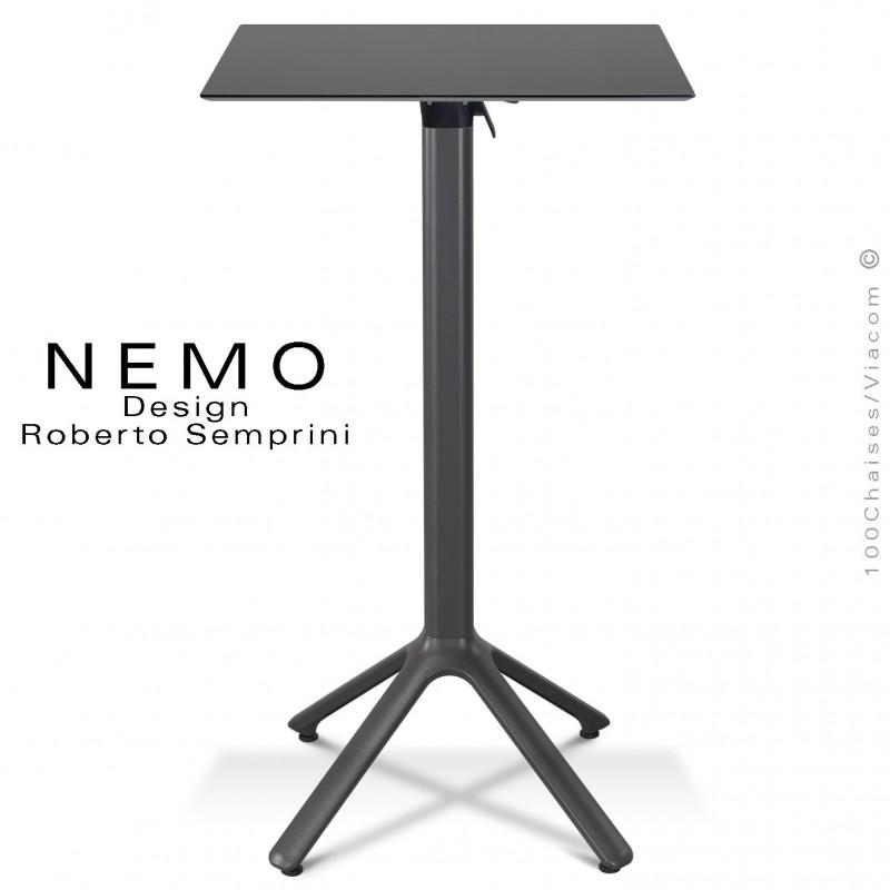 Table mange debout NEMO, piétement encastrable peint anthracite, plateau rabattable 60x60 cm., compact anthracite.