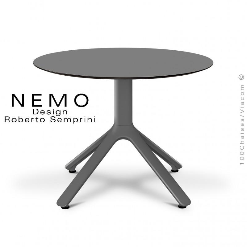 Table basse NEMO, pour CHR., piétement aluminium anthracite, plateau fixe Ø60 cm., HPL couleur anthracite.