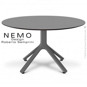 Table basse NEMO, pour CHR., piétement aluminium anthracite, plateau fixe Ø90 cm., HPL couleur anthracite.