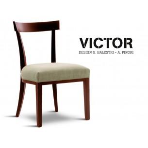 VICTOR chaise en hêtre finition acajou, habillage toile de jute écru 515