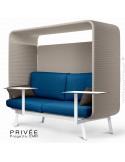 Banquette alcôve PRIVÉE, canopy LK535, assise et dossier LK540, coussins LK539, avec 2 tablettes, structure peinture blanche.
