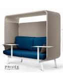 Banquette alcôve PRIVÉE, canopy LK535, assise et dossier LK541, coussins LK539, avec 2 tablettes, structure peinture blanche.