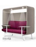 Banquette alcôve PRIVÉE, canopy LK535, assise-dossier LK530, coussins LK539, 2 tablettes + 2 spots LED, structure blanche.