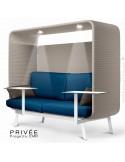Banquette alcôve PRIVÉE, canopy LK535, assise-dossier LK541, coussins LK539, 2 tablettes + 2 spots LED, structure blanche.