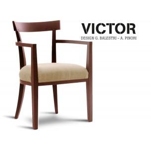 VICTOR fauteuil en bois finition acajou, habillage toile de jute écru 515