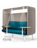 Banquette alcôve PRIVÉE, canopy LK535, assise-dossier LK543, coussins LK539, 2 tablettes + 2 spots LED, structure blanche.