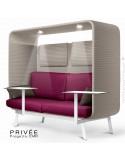 Banquette PRIVÉE, canopy LK535, assise-dossier LK530, coussins LK539, appuis-tête LK535, 2 tablettes, 2 LED, peint blanche.