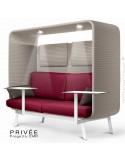 Banquette PRIVÉE, canopy LK535, assise-dossier LK531, coussins LK539, appuis-tête LK535, 2 tablettes, 2 LED, peint blanche.