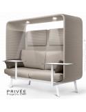 Banquette PRIVÉE, canopy LK535, assise-dossier LK535, coussins LK539, appuis-tête LK535, 2 tablettes, 2 LED, peint blanche.
