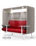 Banquette PRIVÉE, canopy LK535, assise-dossier LK532, coussins LK539, appuis-tête LK535, 2 tablettes, 2 LED, peint blanche.