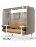 Banquette PRIVÉE, canopy LK535, assise-dossier LK534, coussins LK539, appuis-tête LK535, 2 tablettes, 2 LED, structure blanche.
