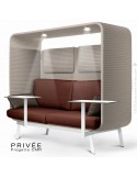 Banquette PRIVÉE, canopy LK535, assise-dossier LK536, coussins LK539, appuis-tête LK535, 2 tablettes, 2 LED, structure blanche.
