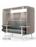 Banquette PRIVÉE, canopy LK535, assise-dossier LK538, coussins LK539, appuis-tête LK535, 2 tablettes, 2 LED, structure blanche.
