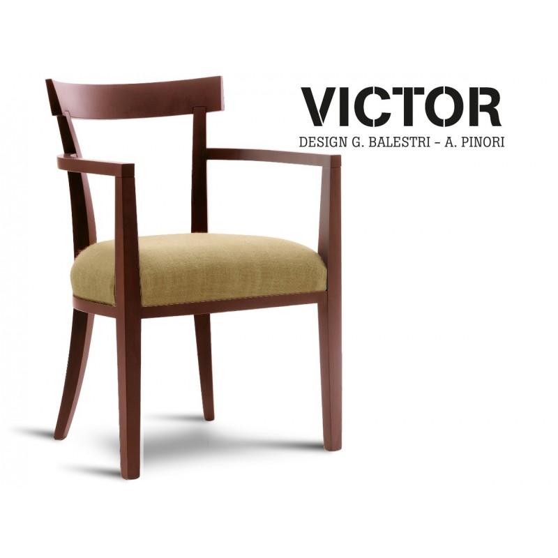 VICTOR fauteuil en bois finition acajou, habillage toile de jute beige 516