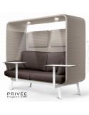 Banquette PRIVÉE, canopy LK535, assise-dossier LK539, coussins LK539, appuis-tête LK535, 2 tablettes, 2 LED, structure blanche.