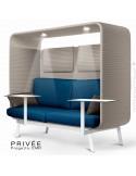 Banquette PRIVÉE, canopy LK535, assise-dossier LK541, coussins LK539, appuis-tête LK535, 2 tablettes, 2 LED, structure blanche.