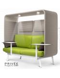 Banquette PRIVÉE, canopy LK535, assise-dossier LK542, coussins LK539, appuis-tête LK535, 2 tablettes, 2 LED, structure blanche.