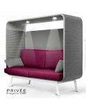 Banquette alcôve PRIVÉE, canopy LK538, assise et dossier LK530, coussins LK538, 2 spots + USB, structure peinture blanche.