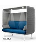 Banquette alcôve PRIVÉE, canopy LK538, assise et dossier LK540, coussins LK538, 2 spots + USB, structure peinture blanche.