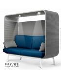 Banquette alcôve PRIVÉE, canopy LK538, assise et dossier LK541, coussins LK538, 2 spots + USB, structure peinture blanche.