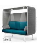 Banquette alcôve PRIVÉE, canopy LK538, assise et dossier LK543, coussins LK538, 2 spots + USB, structure peinture blanche.