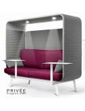 Banquette PRIVÉE, canopy LK538, assise et dossier LK530, coussins LK538, 2 tablettes, 2 LEDS+USB, structure blanche.