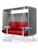 Banquette PRIVÉE, canopy LK538, assise et dossier LK532, coussins LK538, 2 tablettes, 2 LEDS+USB, structure blanche.