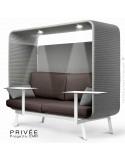 Banquette PRIVÉE, canopy LK538, assise et dossier LK539, coussins LK538, 2 tablettes, 2 LEDS+USB, structure blanche.
