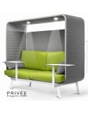 Banquette PRIVÉE, canopy LK538, assise et dossier LK542, coussins LK538, 2 tablettes, 2 LEDS+USB, structure blanche.