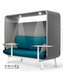Banquette PRIVÉE, canopy LK538, assise et dossier LK543, coussins LK538, 2 tablettes, 2 LEDS+USB, structure blanche.