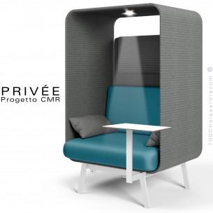 Banquette alcôve PRIVÉE, canopy 538, assise 543, coussin 538, appui-tête 538, une tablette, un spot LED, structure blanche.