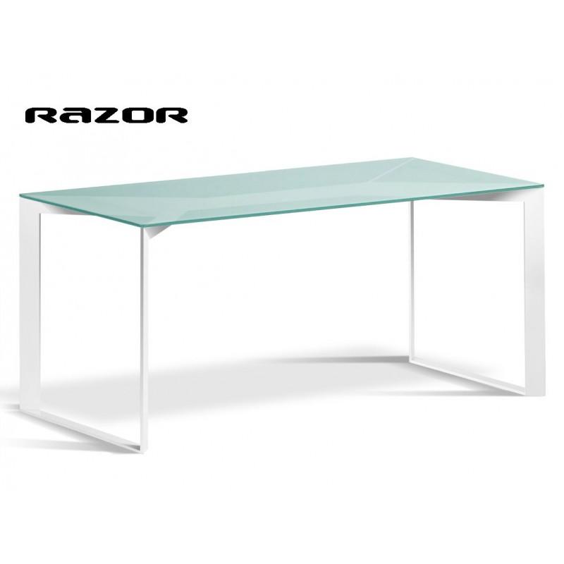 Razor table acier finition blanc, plateau verre transparent.