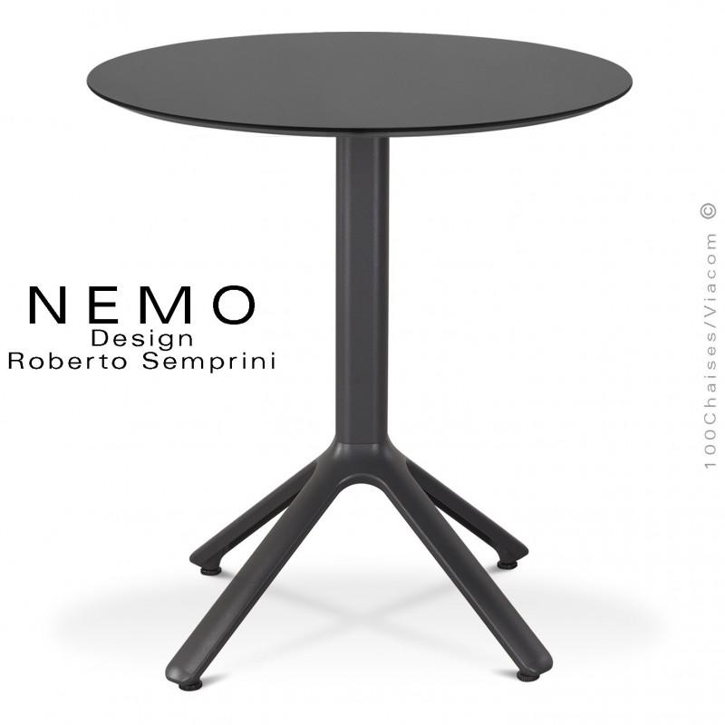 Table NEMO pour CHR., piétement aluminium peint anthracite, plateau Ø60 cm., compact anthracite.