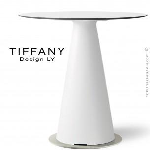 Table TIFFANY, piétement plastique blanc, plateau Ø80cm compact couleur blanc