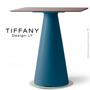 Table TIFFANY, piétement plastique bleu, plateau compact 70x70 couleur marron