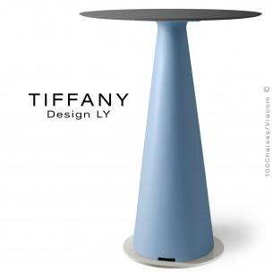 Table mange debout TIFFANY, piétement plastique bleu clair, plateau compact Ø80 couleur noir