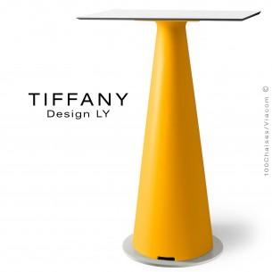 Table mange debout TIFFANY, piétement plastique jaune, plateau compact 70x70 couleur blanc