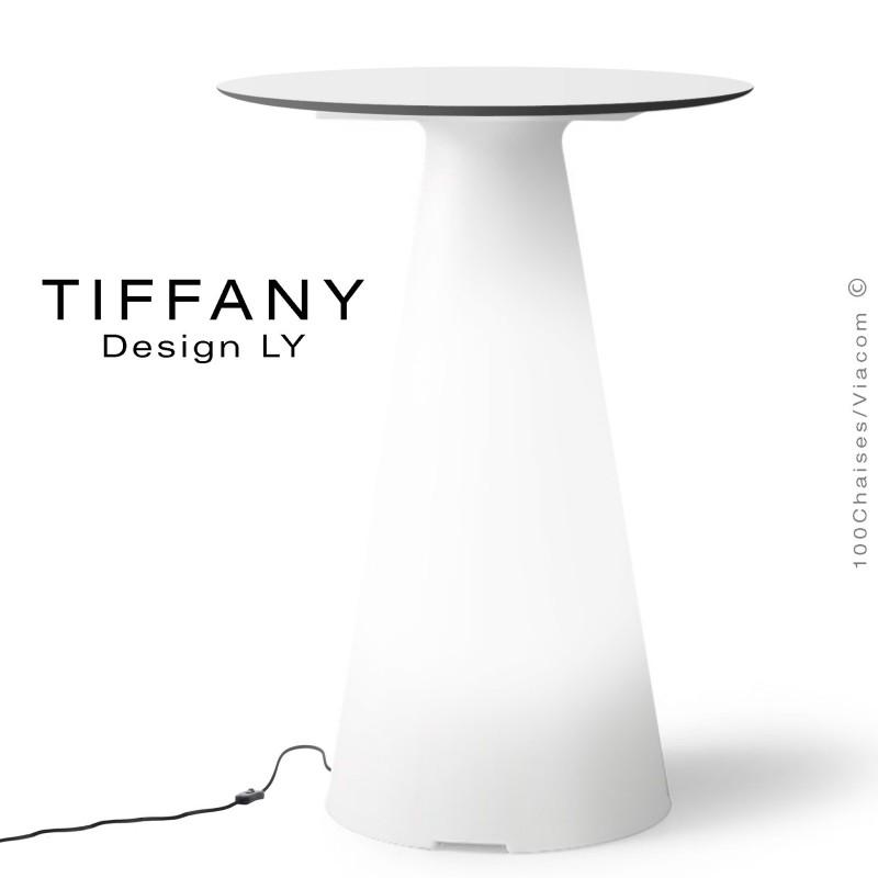Table TIFFANY, piétement plastique LED lumineux sur prise secteur, plateau Ø60 compact couleur blanc