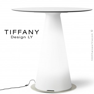 Table TIFFANY, piétement plastique LED lumineux sur prise secteur, plateau Ø80 compact couleur blanc