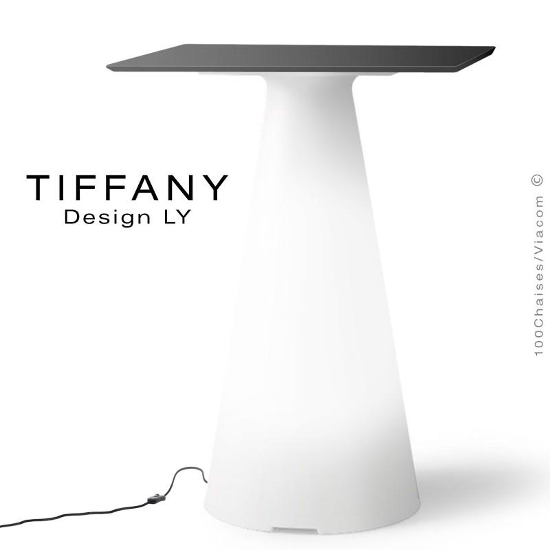 Table TIFFANY, piétement plastique LED lumineux sur prise secteur, plateau 60x60 compact couleur noir