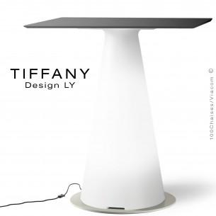 Table TIFFANY, piétement plastique LED lumineux sur prise secteur, plateau 70x70 compact couleur noir