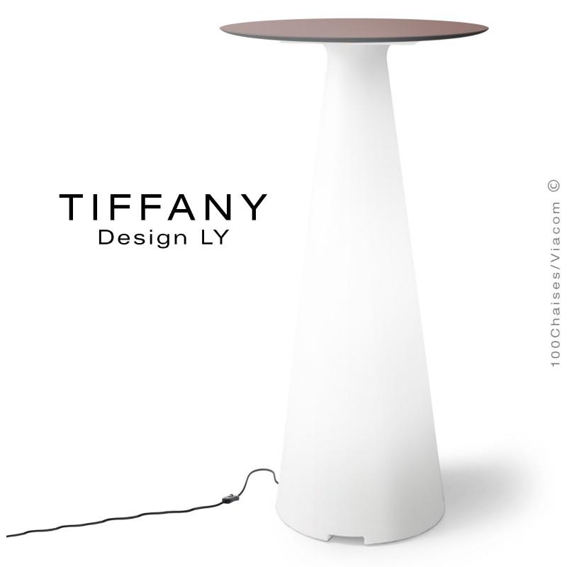 Table mange debout TIFFANY, piétement plastique LED lumineux sur prise secteur, plateau Ø60 compact couleur marron