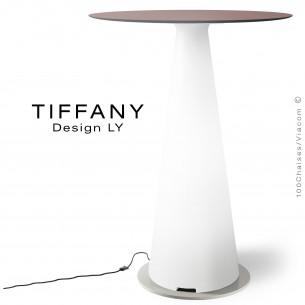 Table mange debout TIFFANY, piétement plastique LED lumineux sur prise secteur, plateau Ø80 compact couleur marron