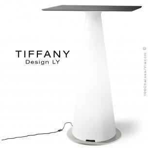 Table mange debout TIFFANY, piétement plastique LED lumineux sur prise secteur, plateau 70x70 compact couleur noir