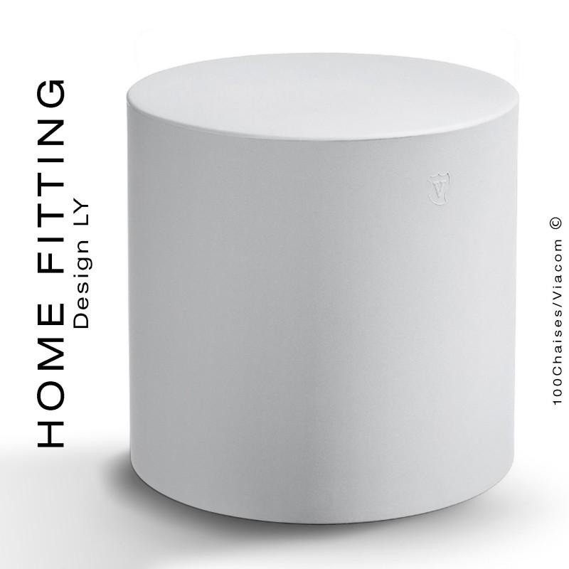 Pouf, table rond HOME FITTING, structure plastique couleur blanc