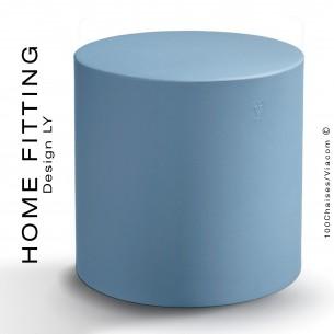Pouf, table rond HOME FITTING, structure plastique couleur bleu clair