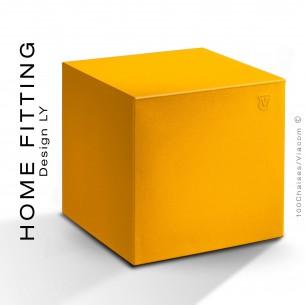 Pouf ou table carré HOME FITTING, structure plastique couleur jaune